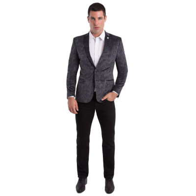 Nick Graham Grey Paisley Woven Sport Coat Slim Fit