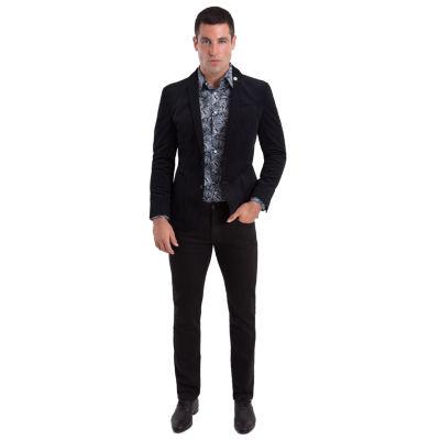 Nick Graham Black Houndstooth Woven Sport Coat Slim Fit