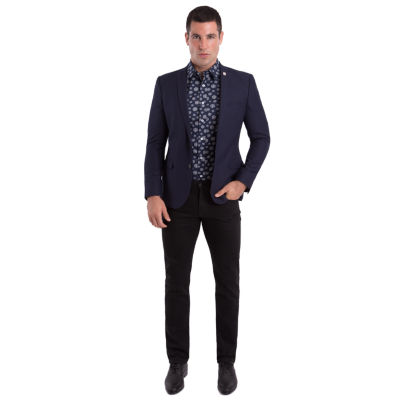 Nick Graham Navy Texture Woven Sport Coat Slim Fit