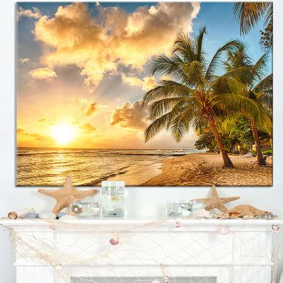 Design Art Gorgeous Beach Of Island Barbados Modern Seascape Canvas Artwork