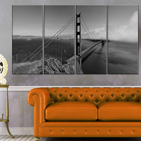 Design Art Golden Gate Bridge In Gray Panorama Sea Bridge Canvas Art Print - 4 Panels