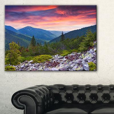 Designart Stones Under Summer Sunset Landscape Photo Canvas Art Print