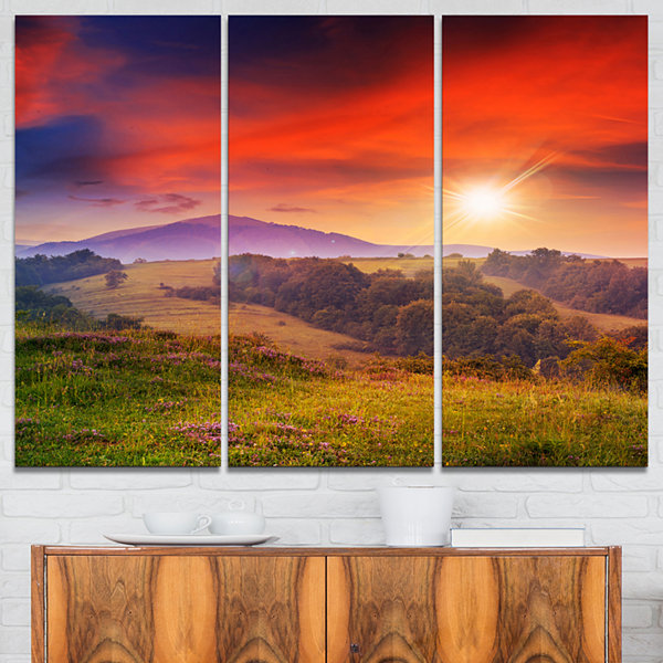 Design Art Cold Morning Fog With Red Hot Sun Landscape Photography Canvas Print - 3 Panels