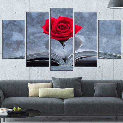 Design Art Red Rose Inside The Book (373) Floral Canvas Art Print - 5 Panels
