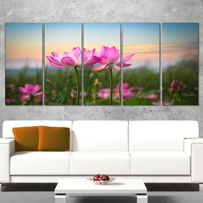 Designart Blooming Lotus Flowers At Sunset PhotoCanvas Print - 5 Panels