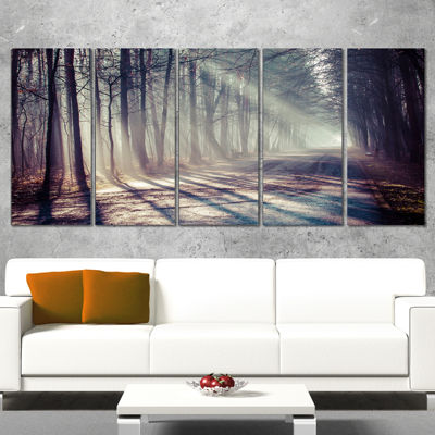 Designart Morning Sunbeams To Forest Road Landscape Photography Canvas Print - 5 Panels