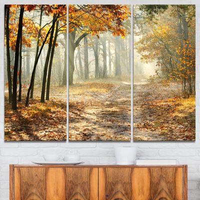 Design Art Bright Yellow Fall Morning Landscape Photo Canvas Art Print - 3 Panels
