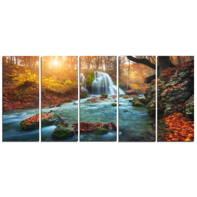Design Art Fast Flowing Fall River In Forest Landscape Photography Canvas Print - 5 Panels