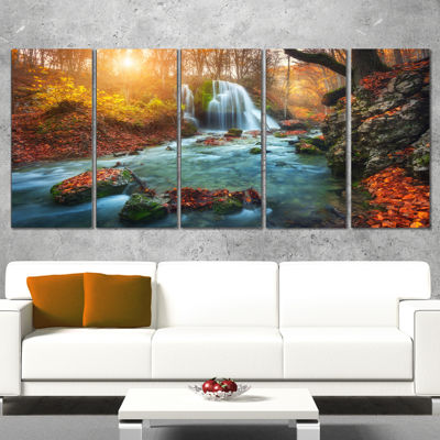 Designart Fast Flowing Fall River In Forest Landscape Photography Canvas Print - 5 Panels