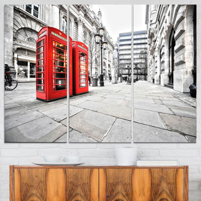 Designart Phone Booths On Street Cityscape CanvasPrint - 3 Panels