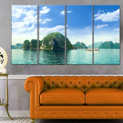 Designart Ha Long Bay In Vietnam Seascape Canvas Art Print - 4 Panels