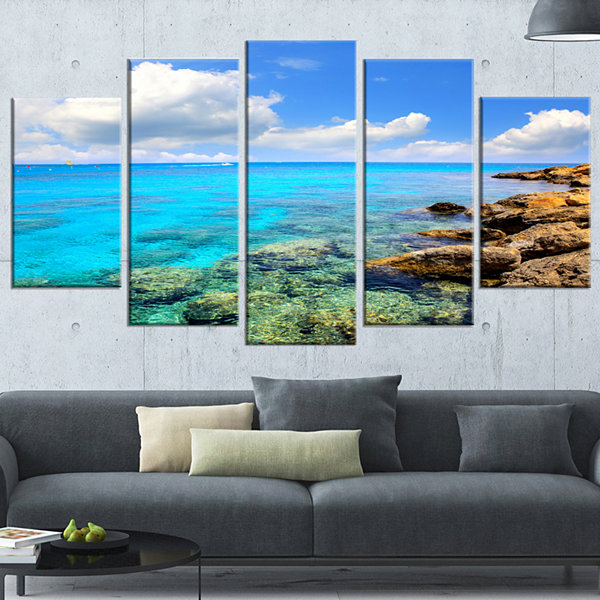 Designart Bright Summer Day In Sea Canvas Art Print 5 Panels