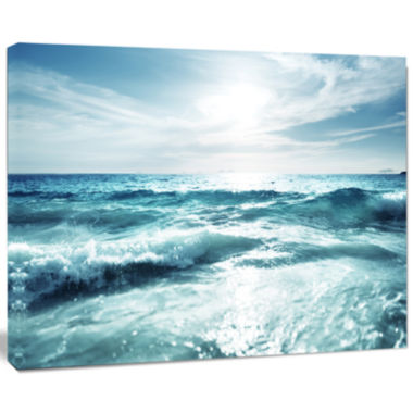 Design Art Seychelles Beach At Sunset Seascape Canvas Art Print
