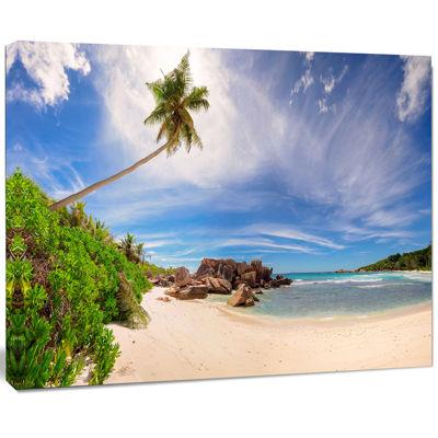 Design Art Beautiful Beach At La Digue Seychelles Seashore Canvas Print