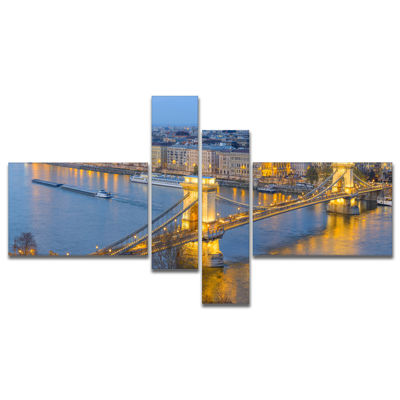 Designart Chain Building And Parliament In Budapest City scape Canvas Print 4 Panels