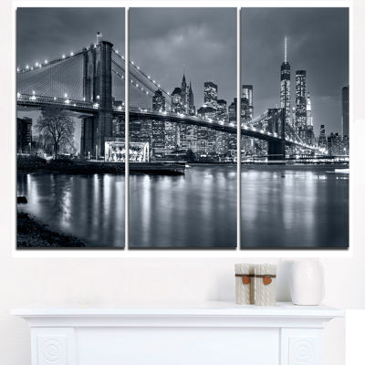 Design Art Panorama New York City At Night Cityscape Canvas Print - 3 Panels