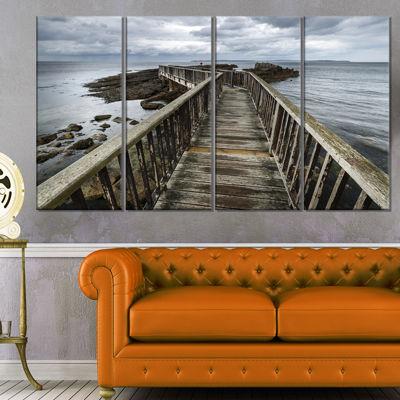Design Art Wooden Pier On North Irish Coastline Sea Bridge Canvas Art Print - 4 Panels