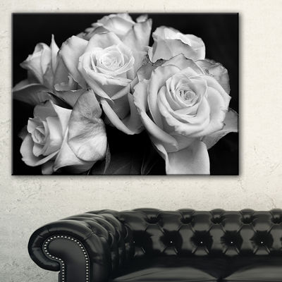 Design Art Bunch Of Roses Black And White Floral Canvas Art Print