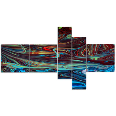 Designart Red Blue Abstract Acrylic Paint Mix ArtCanvas Wall Art 5 Panels