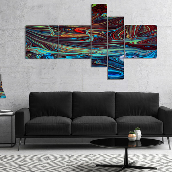 Design Art Red Blue Abstract Acrylic Paint Mix Art Canvas Wall Art 5 Panels