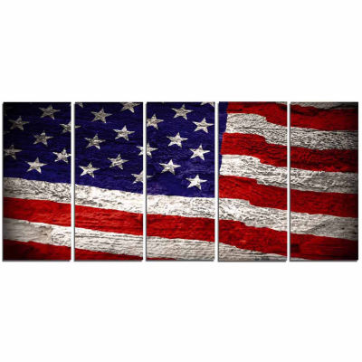 Designart American Flag Watercolor Abstract CanvasArtwork - 5 Panels
