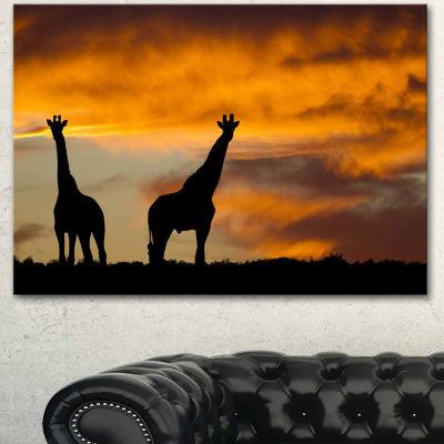 Designart African Wildlife Silhouette Canvas Art Print