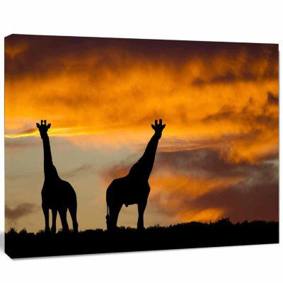 Design Art African Wildlife Silhouette Canvas Art Print