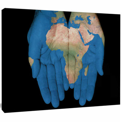 Designart African Map In Our Hands Abstract CanvasArtwork