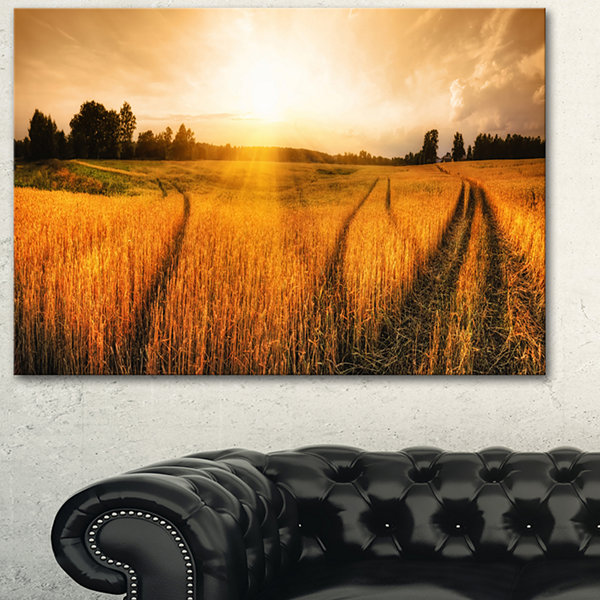 Designart Wheat Field At Sunset Panorama Photography Canvas Art Print