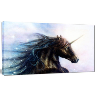 Design Art Black Unicorn Animal Canvas Art Print