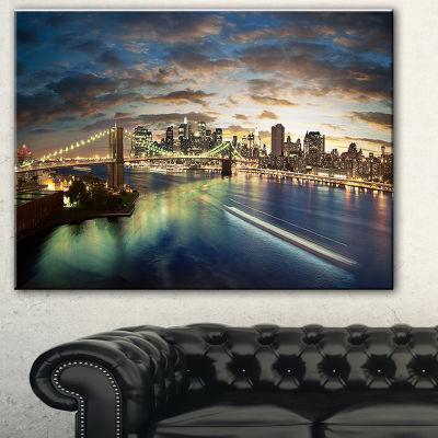 Design Art New York Under Cloudy Skies Cityscape Photo Canvas Print