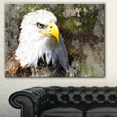 Design Art Eagle Head With Textures Animal Canvas Art Print