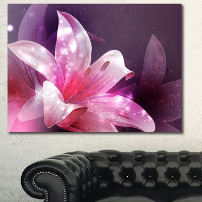 Design Art Shining Pink Fractal Flower Art Canvas Print