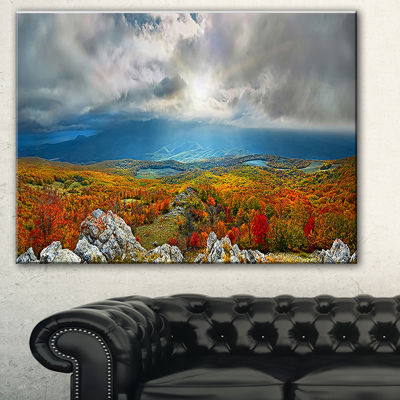 Design Art Autumn In Crimean Mountains Landscape Photography Canvas Print