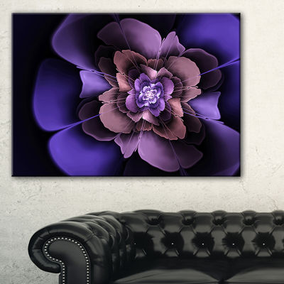 Design Art Blue Fractal Flower In Dark Canvas Art Print