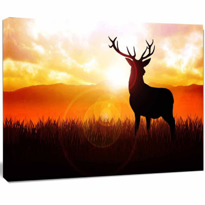 Design Art Deer On Meadow During Sunrise Animal Canvas Art Print