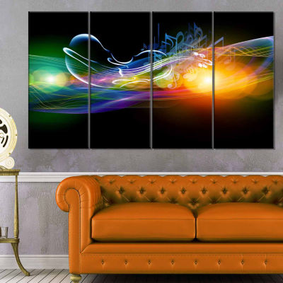 Designart Waves Of Music Fractal Design Abstract Canvas Wall Art Print - 4 Panels