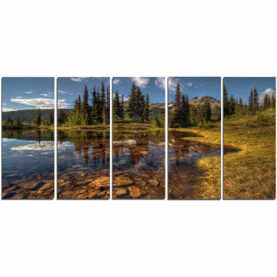 Designart Bright Clear Day And Clear Lake Landscape Canvas Art Print - 5 Panels
