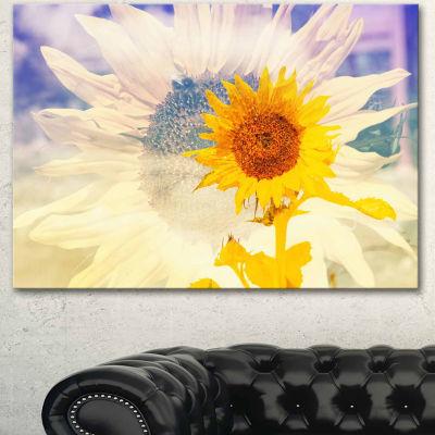Designart Double Exposure Yellow Sunflowers CanvasArt Print