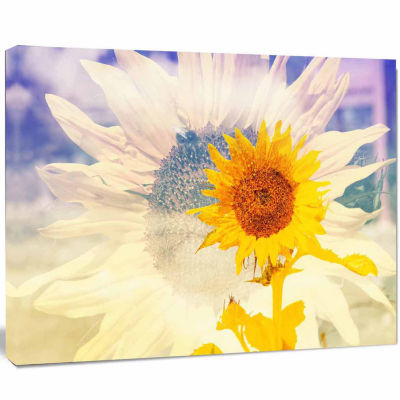 Design Art Double Exposure Yellow Sunflowers Canvas Art Print