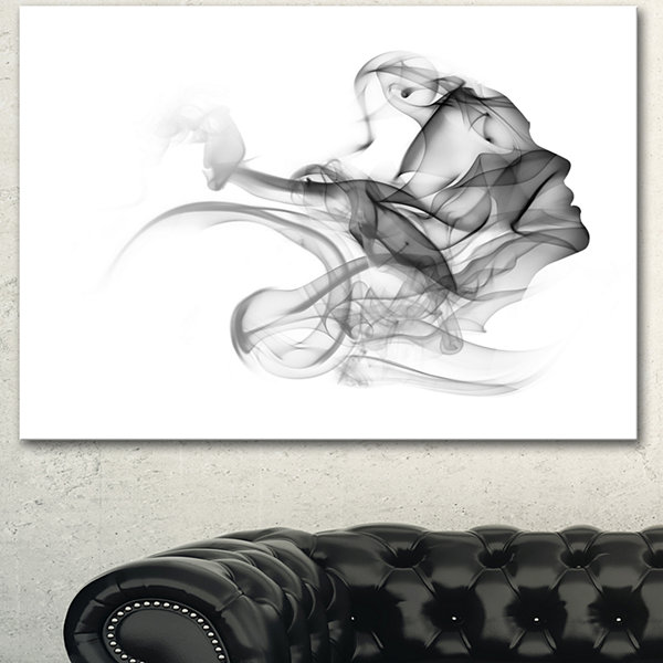 Design Art Woman And Smoke Double Exposure Portrait Canvas Art Print