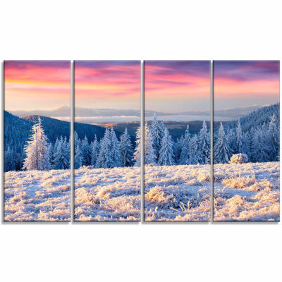 Designart Amazing Winter Sunrise In Mountains Landscape Canvas Art Print - 4 Panels
