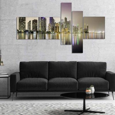 Designart Miami Downtown Night Panorama Canvas ArtPrint - 5 Panels