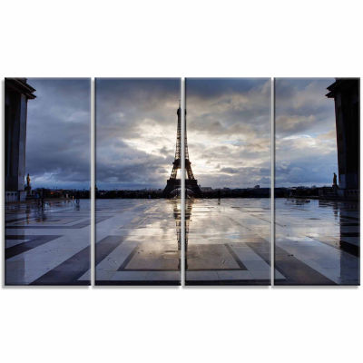 Design Art Reflection Of Paris Eiffel Tower with Clouds Canvas Art Print - 4 Panels