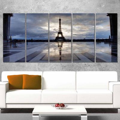 Designart Reflection Of Paris Eiffel Tower with Clouds Canvas Art Print - 5 Panels