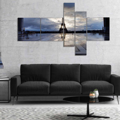 Design Art Reflection Of Paris Eiffel Tower with Clouds Canvas Art Print - 5 Panels