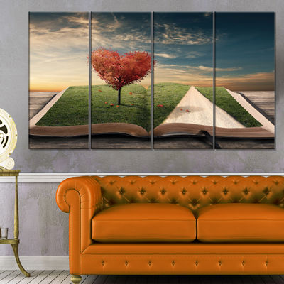 Designart Amazing Heart Tree And Book Abstract Canvas Artwork - 4 Panels