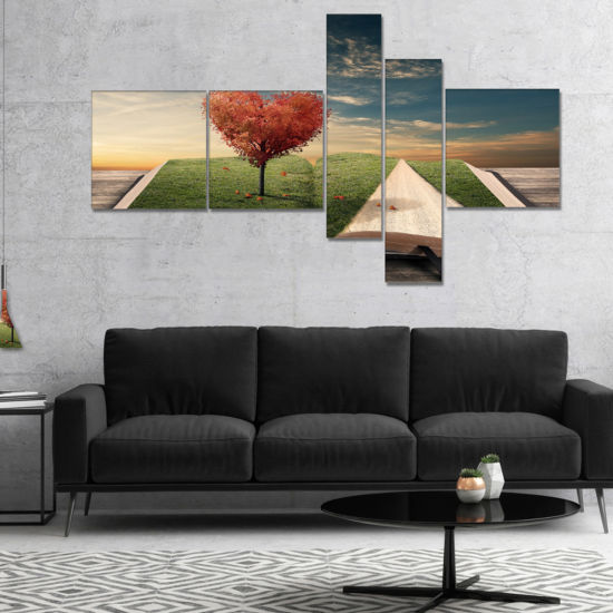 Designart Amazing Heart Tree And Book Abstract Canvas Art work - 5 Panels