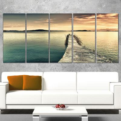 Designart Sea Bridge Into The Deep Ocean Bridge Canvas Art Print - 5 Panels