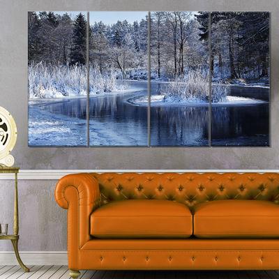 Design Art Winter Lake In Deep Forest Landscape Canvas Art Print - 4 Panels